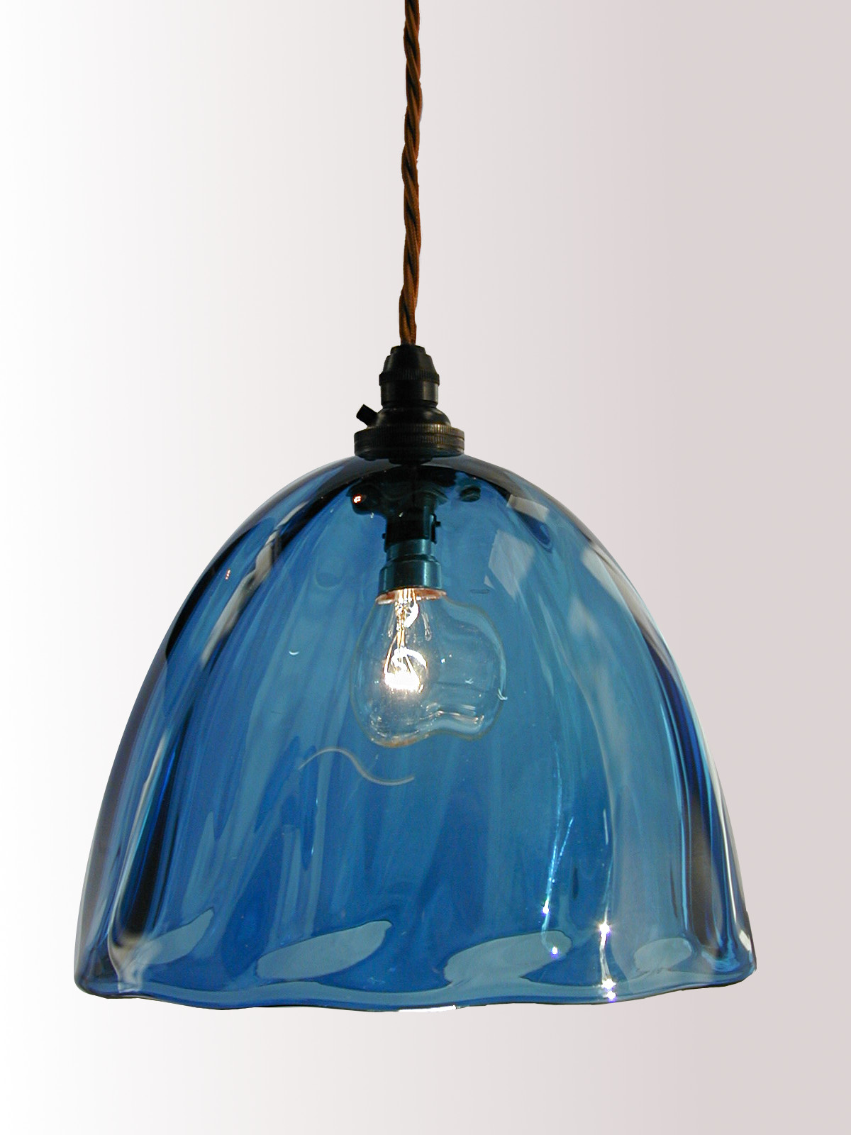Steel Blue hand blown glass pendant lampshade