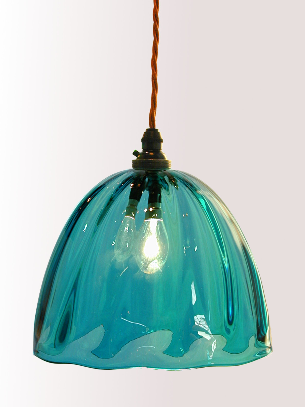 Teal hand blown glass pendant lampshade