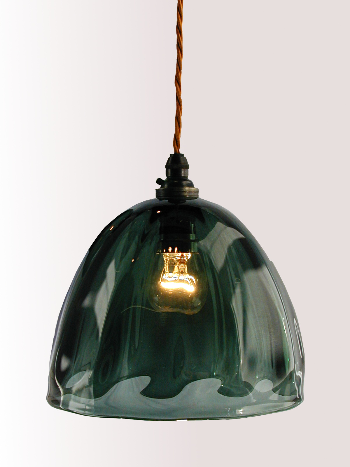 Grey hand blown glass pendant lampshade