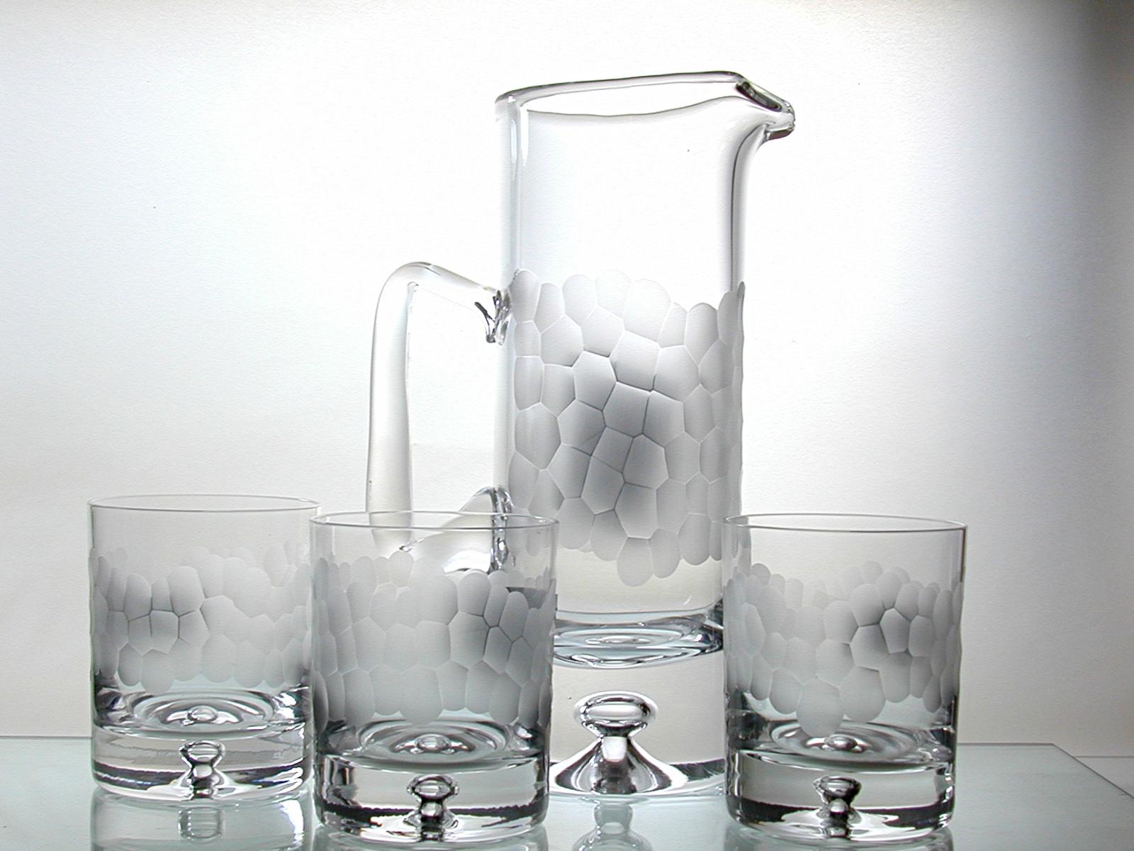 Hand cut pebble jug and glasses