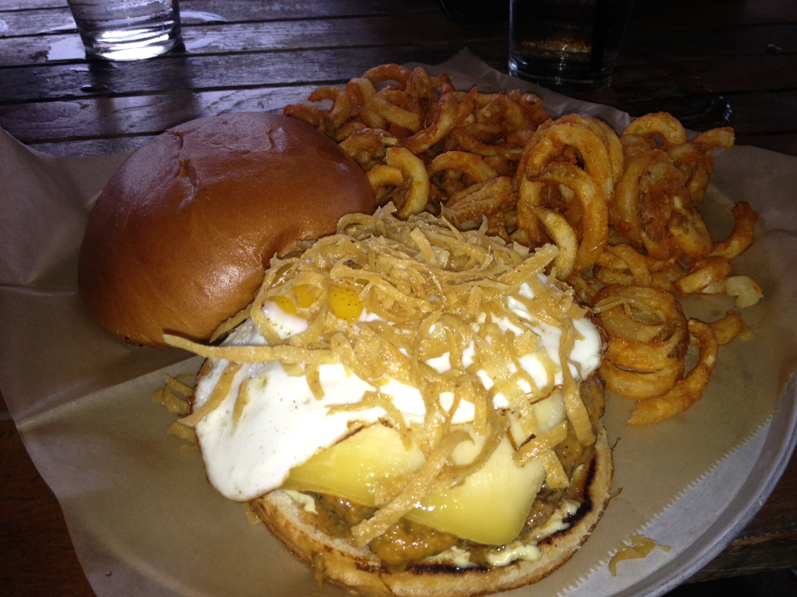 The Huevos Rancheros Burger! Yes, that is a fried egg on that burger.