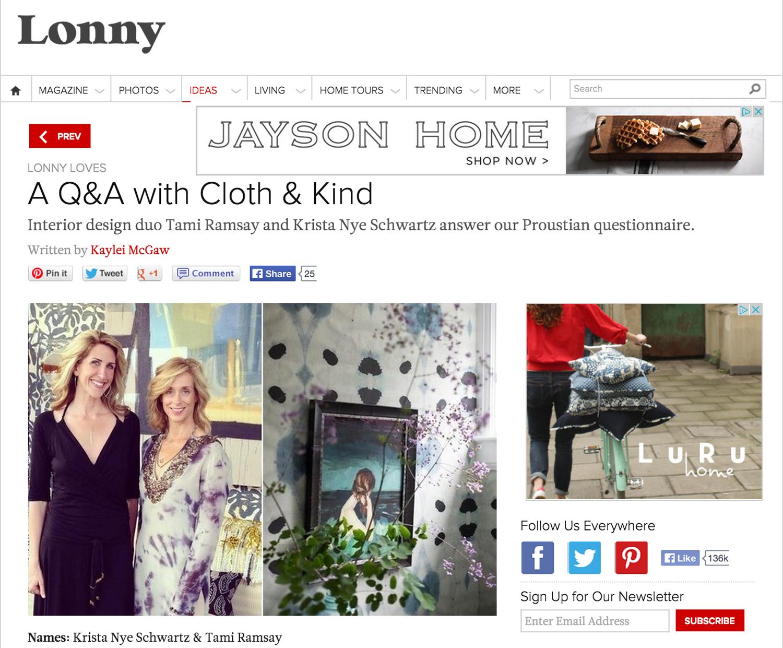 Press // Lonny Loves CLOTH & KIND