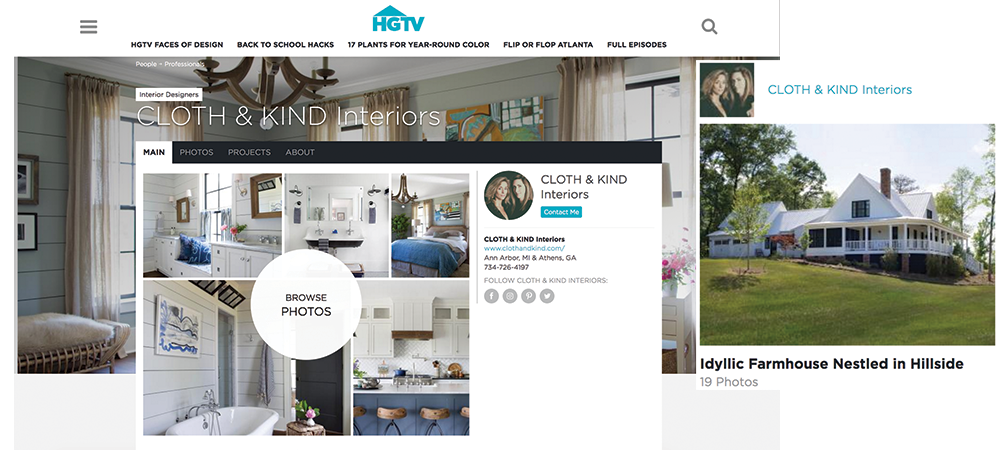 CLOTH & KIND Interiors // HGTV Faces of Design