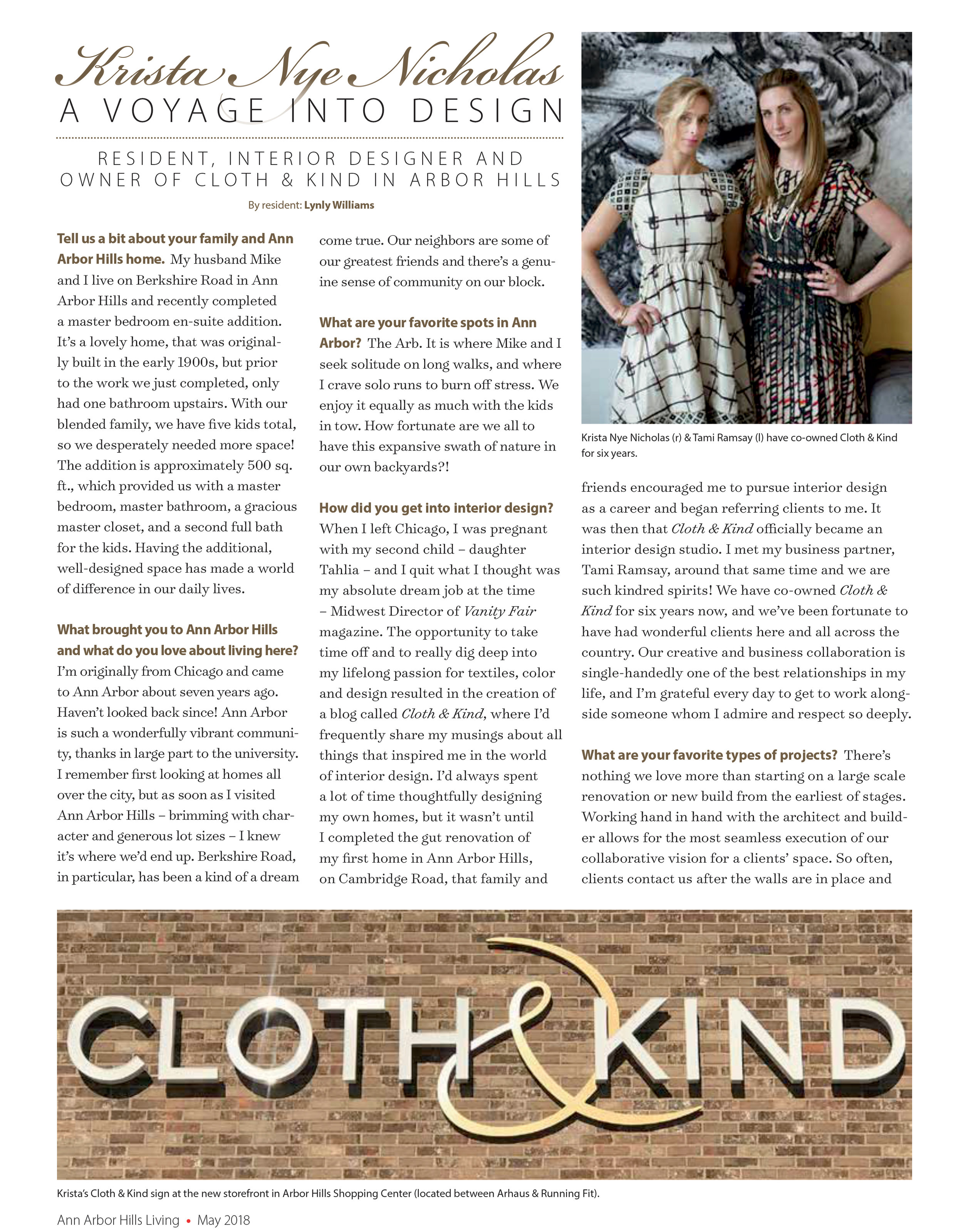 CLOTH & KIND // Press. Ann Arbor Hills Living
