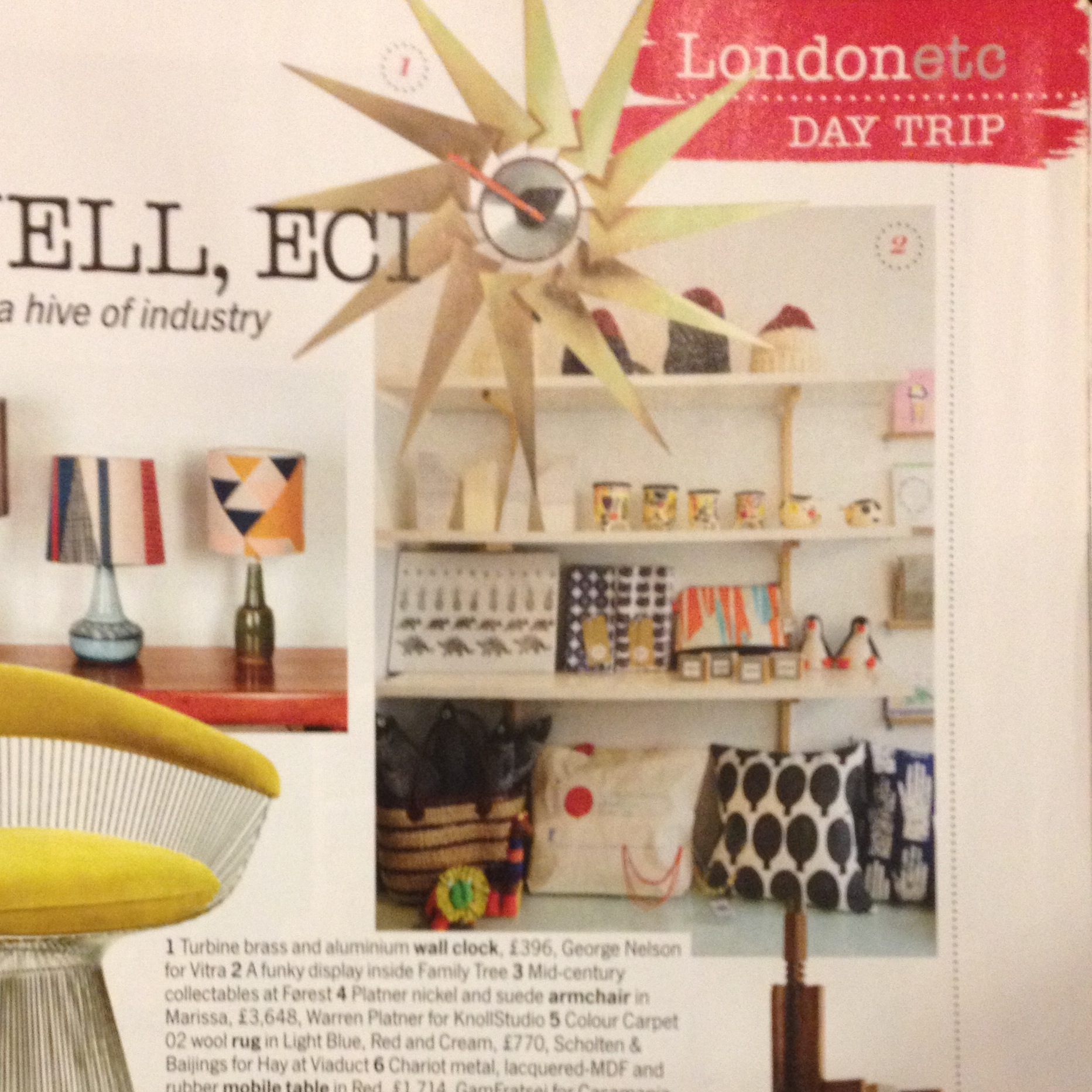 Cushions and Family Tree in November 2014 issue of Living Etc.