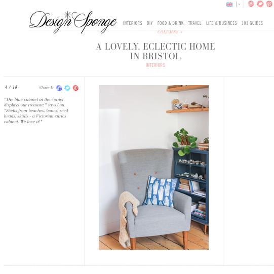 Cushion featured on Design Sponge.