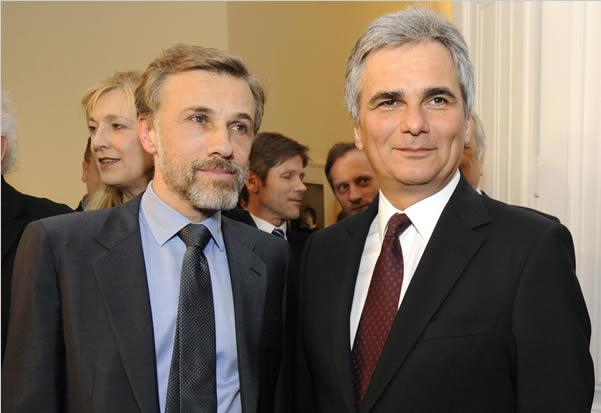 Christoph Waltz with Austrian Chancellor Werner Faymann