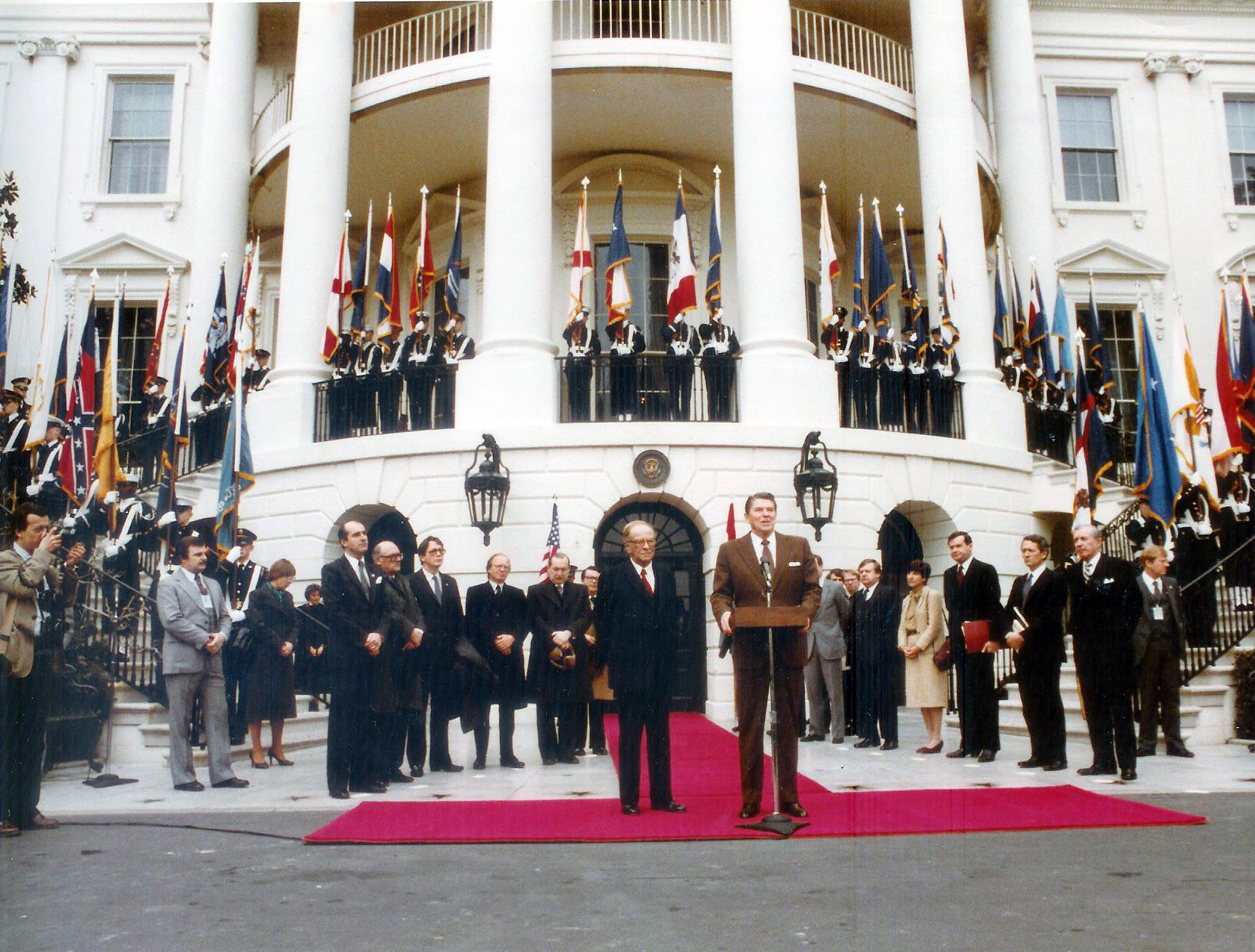 U.S. President Ronald Reagan and Chancellor of Austria Bruno Kreisky at The White House, Washington, D.C., February 3, 1983