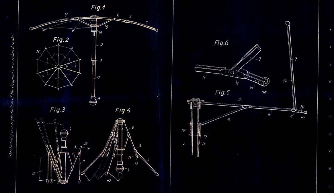 Slawa Horowitz, Patent Specification 318, 577, Sep 19, 1929, ('Improvements in or relating to Foldable Umbrellas and the like'), (detail) © 2014 The Duldig Gallery
