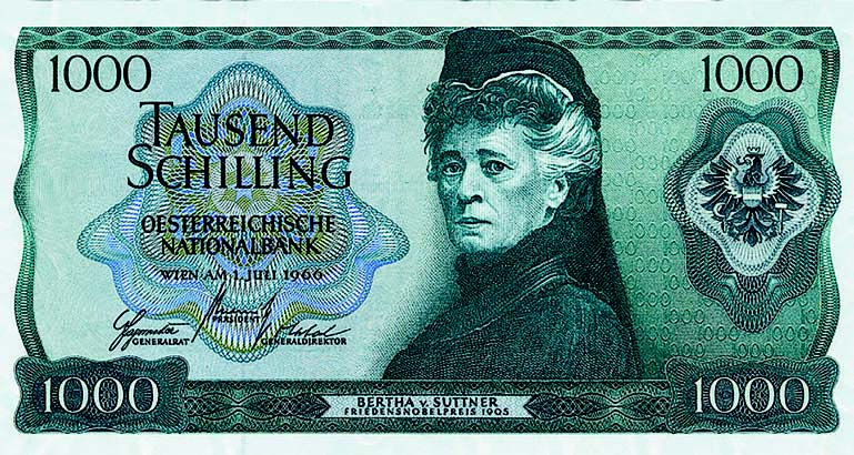 Between 1966 and 1985, Bertha von Suttner was pictured on the obverse side of the Austrian 1000 Schilling bank note