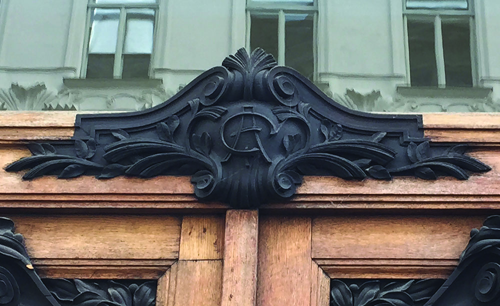 "The initials ""AG"" above biberstrasse entrance  (Julian Steiner)"