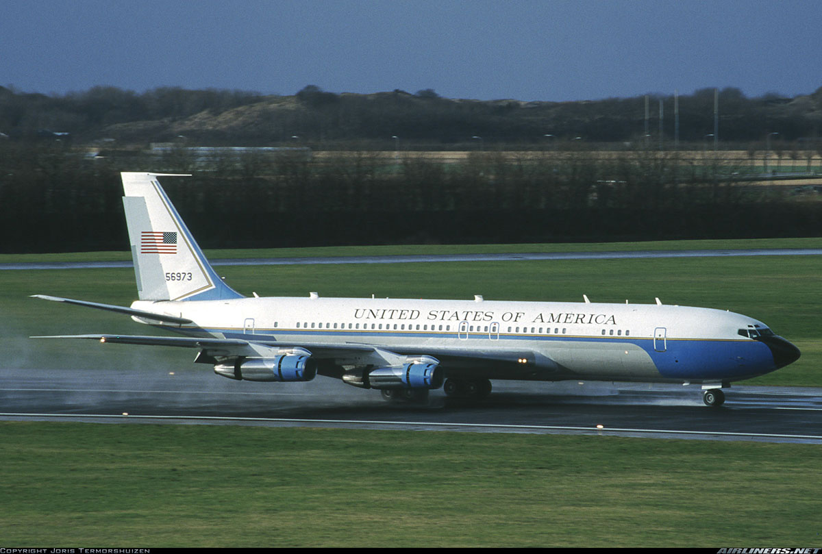 Air Force Two, Formerly Montana's OE-IDA, Lands at Valkenburg Naval Air Station, Netherlands, With First Lady Hillary Clinton on Board on February 7, 1999.  Photo: Joris Termorshuizen