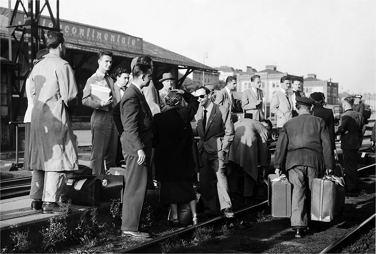 Fulbright Students and Scholars from the UNited States Arriving at the Bombed-Out West Train Station in Occupied Vienna in September, 1951.  Photo: Fulbright Austria