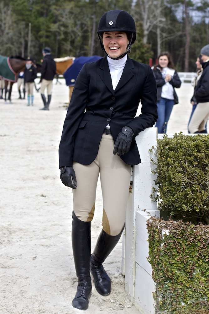 SCAD student horse-back rider poses during a break in the Region 5 Zone 5 Equestrian Show