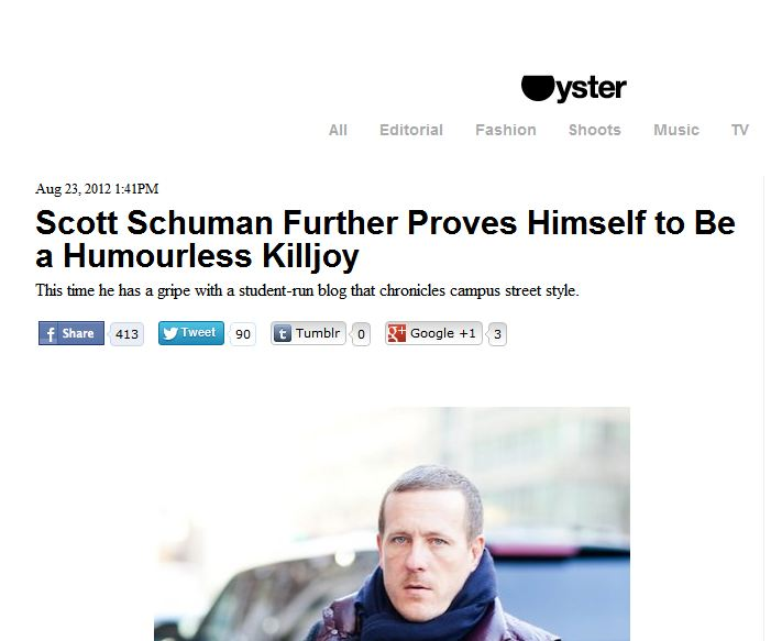 Oyster Mag   -  Scott Schuman further proves himself to be a humourless killjoy
