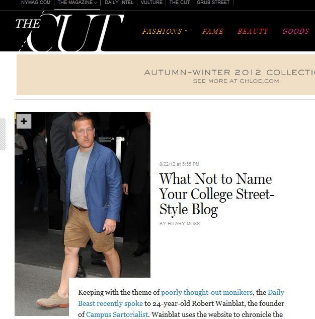 NYMag   -  What not to name your College Street-Style Blog