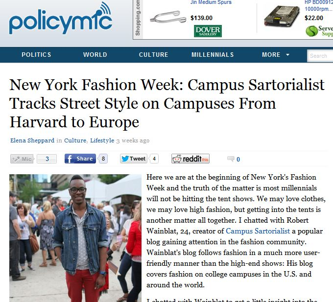 Policy Mic   -  NYFW - Campus Sartorialist tracks street-style on campuses from Harvard to Europe