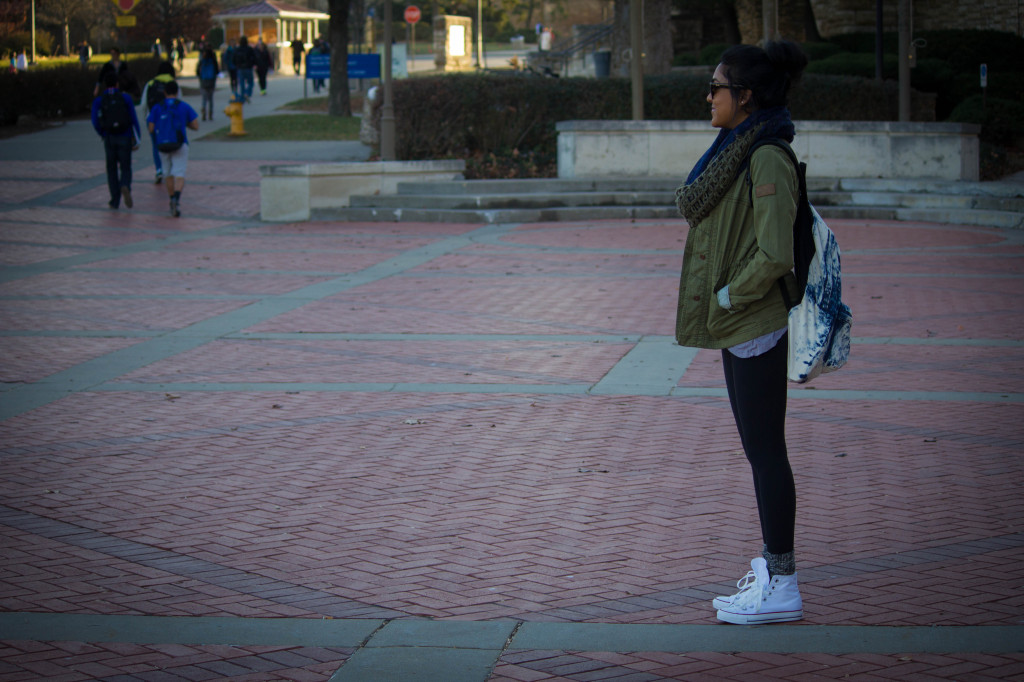 Olive Chunky Scarf and jacket; White Converse; Kansas University campus