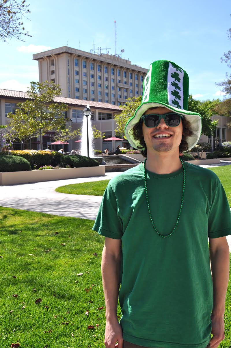 Santa Clara University - St. Paddy Patrick's day campus green hat beads t-shirt
