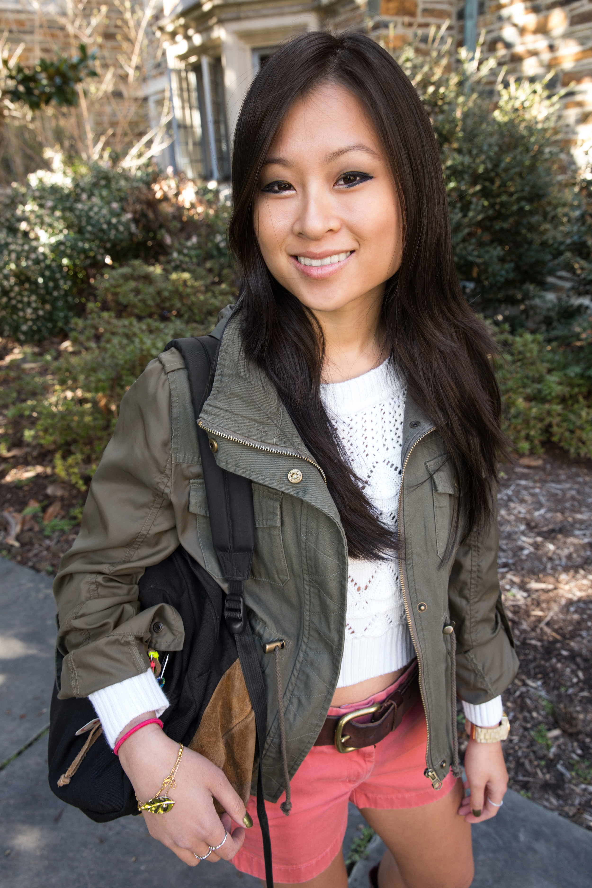 Christina | Duke University  Nantucket Red Shorts; Cowboy Boots, White sweater; American Rag Military Parka for Macy's