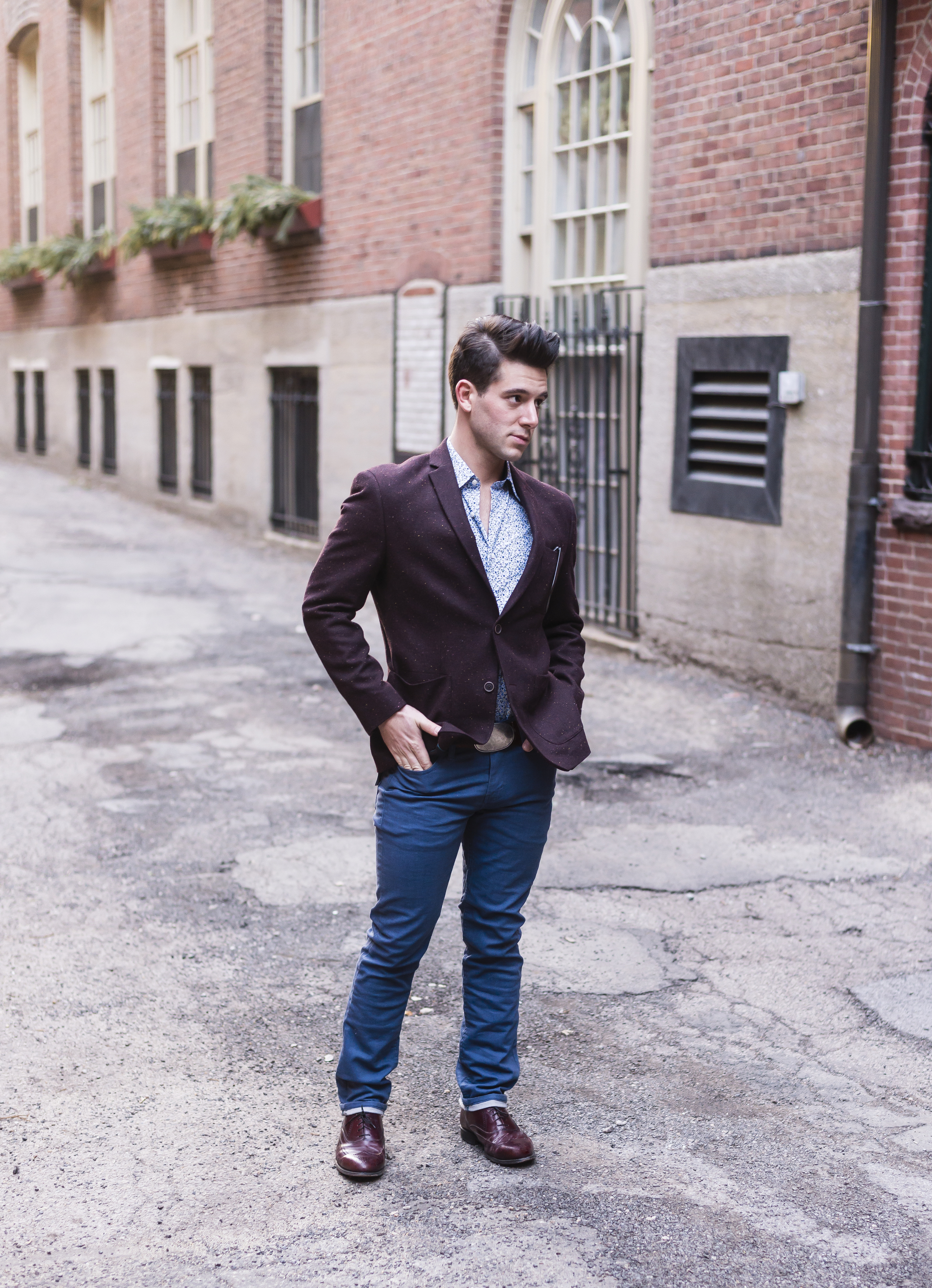Paul Murray | LATech Alumnus  White-speckled Red Blazer -Bar III for Macy's  Floral Shirt - Ben Sherman  Blue Slim Fit Chinos - Levi's for Macy's  Burgundy Brogues