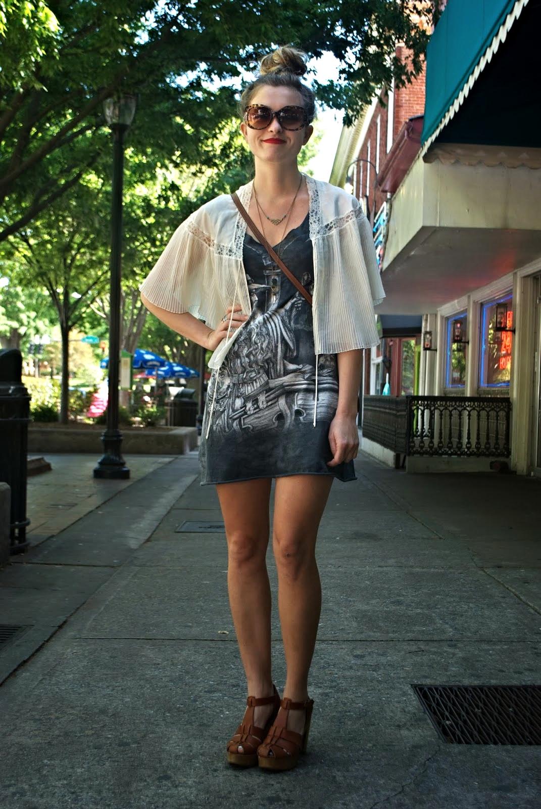UGA Student    White Chiffon Bolero  Black and Gray Rock & Roll Short Dress  Brown Ankle Strap Platform Wedges