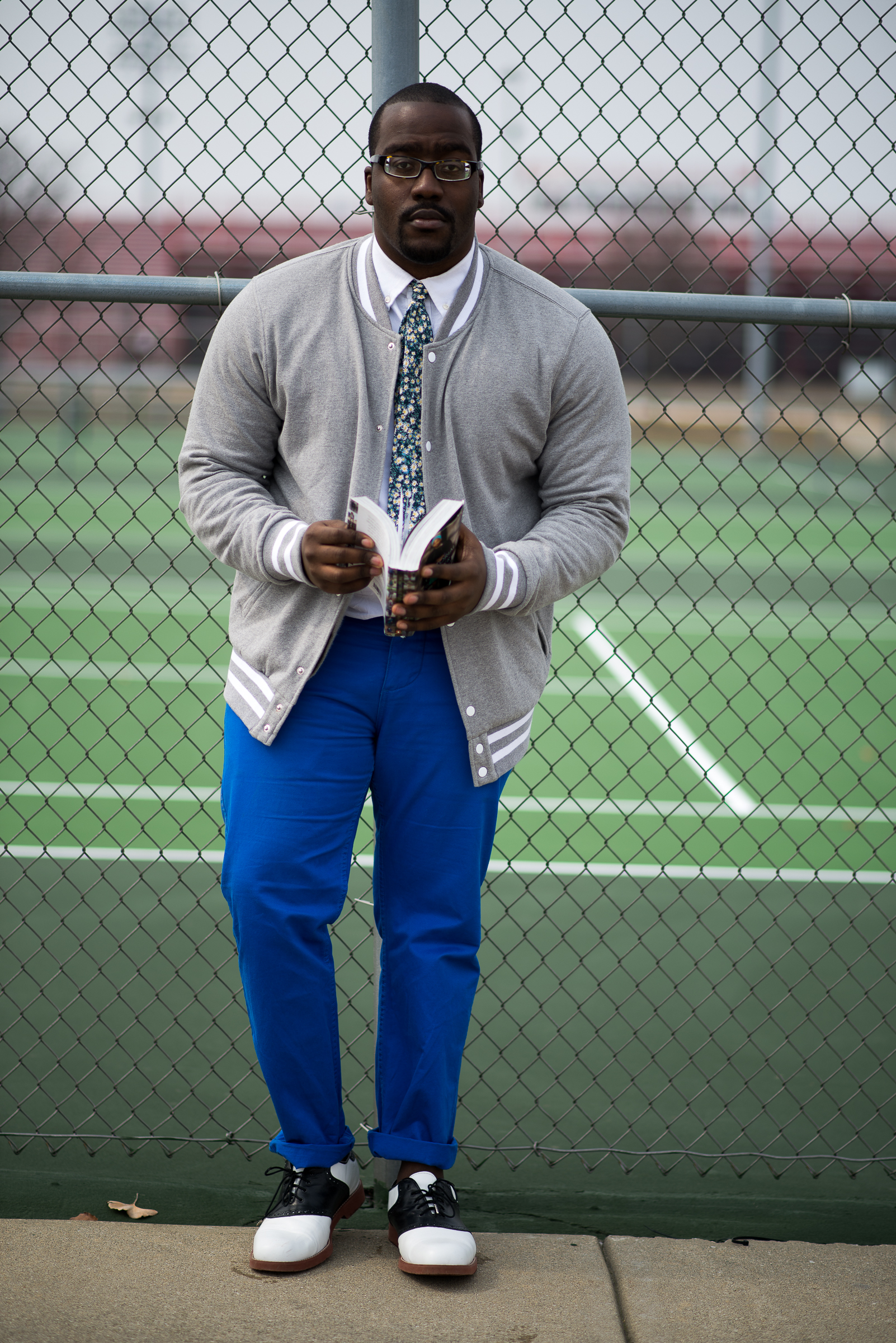 Isaiah Johnson | IUPUI  Baseball Jacket by American Rag for Macy's  Floral Tie - Thrifted  Electric Blue Chinos  Black and White contrast Saddle Shoes
