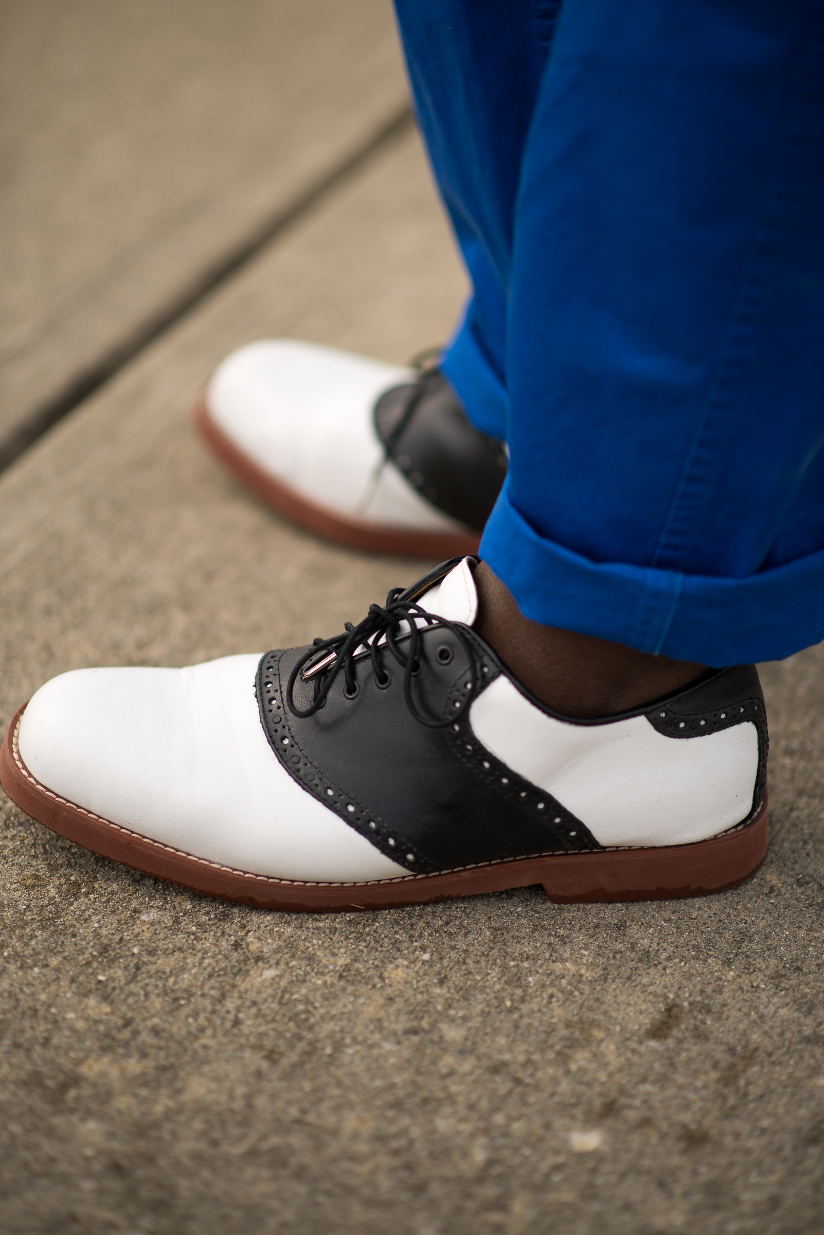 Isaiah Johnson | IUPUI   Electric Blue Chinos   Black and White contrast Saddle Shoes