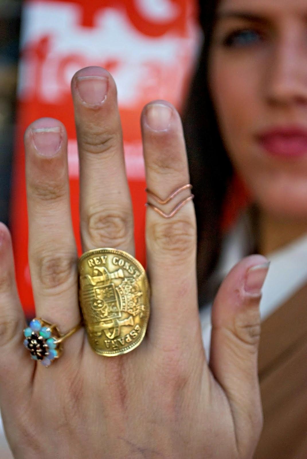 UGA student  Bronze Pesetas Coin Ring