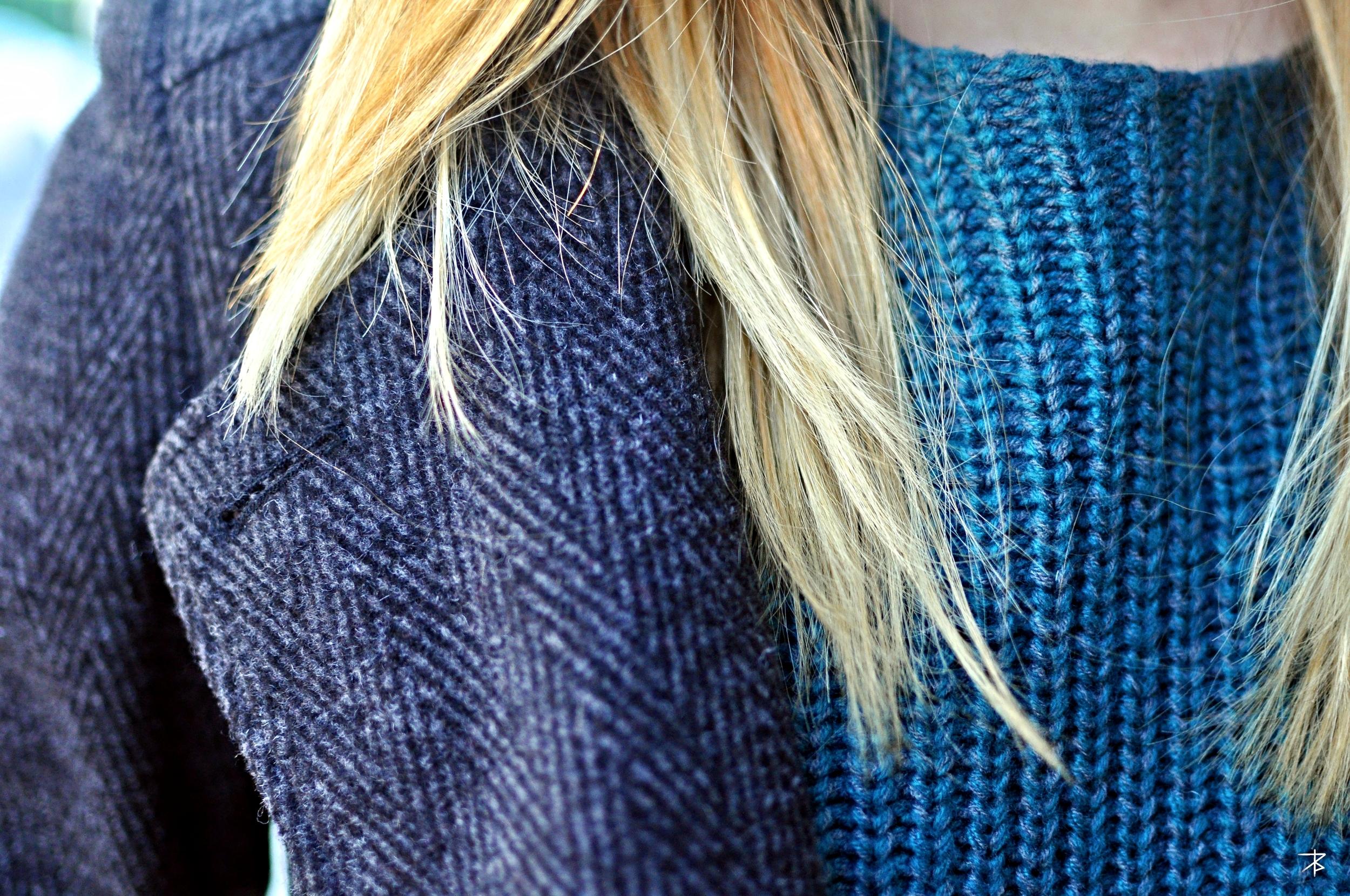 Erin M. | Fordham University  Tweed Jacket  Blue Crewneck Sweater