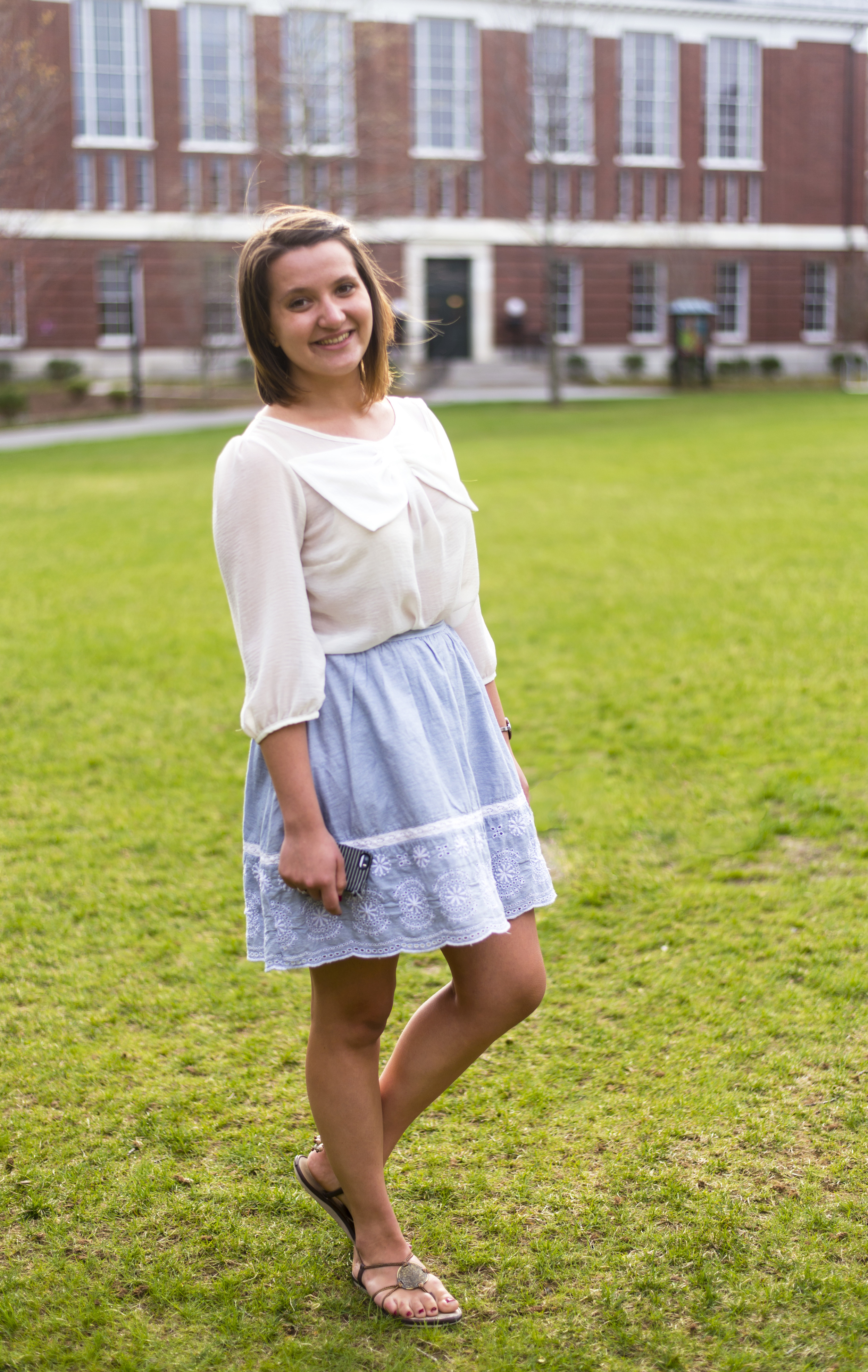Ana-Maria Constantin | Harvard University '16  Bow-Tie Top  Blue Lace Skirt  Gladiator Sandals