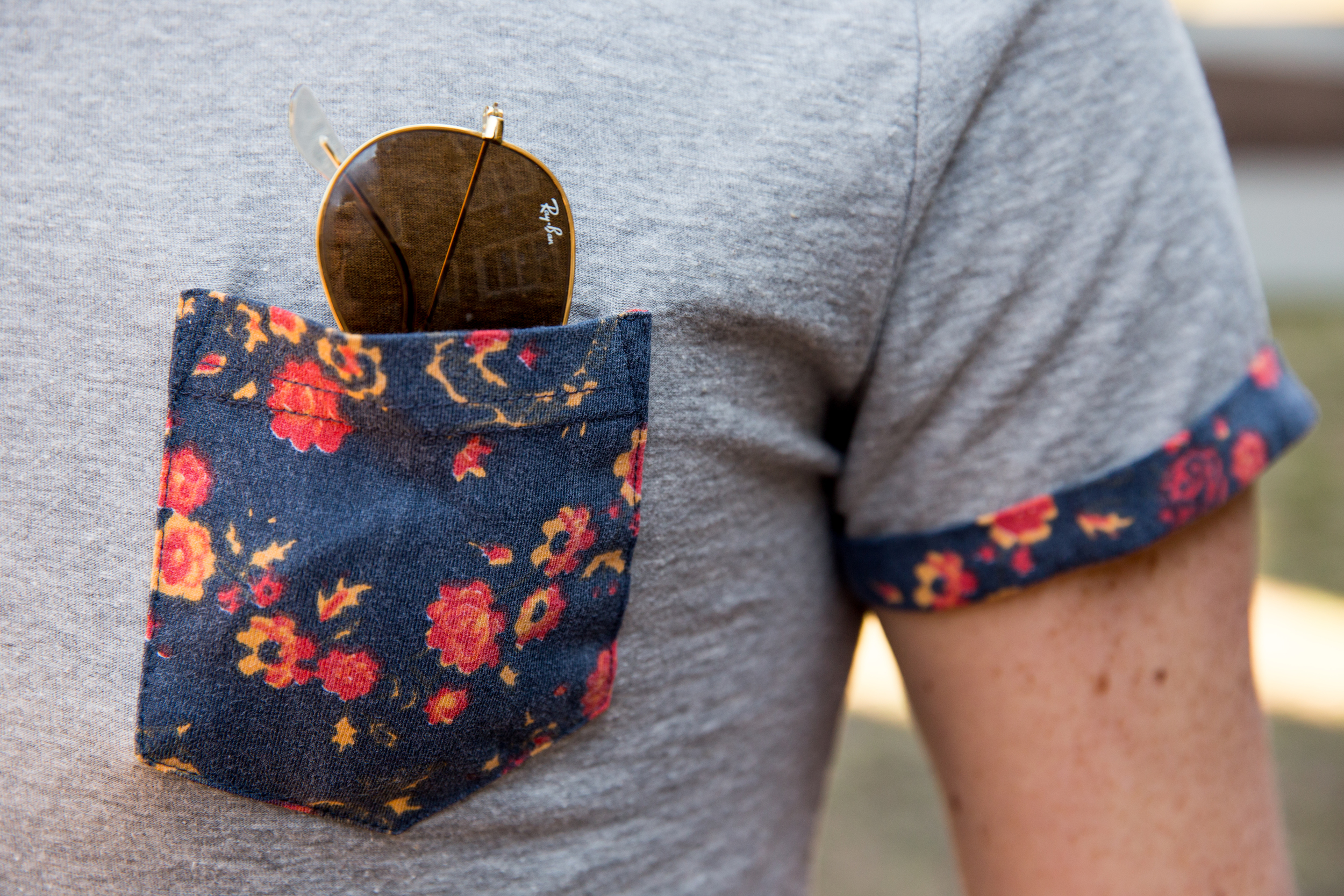 Cameron | Duke University  Floral Accent Pocket Tee  Dark Denim  Frank & Oak Bag  Rayban Sunglasses  Brown Boots