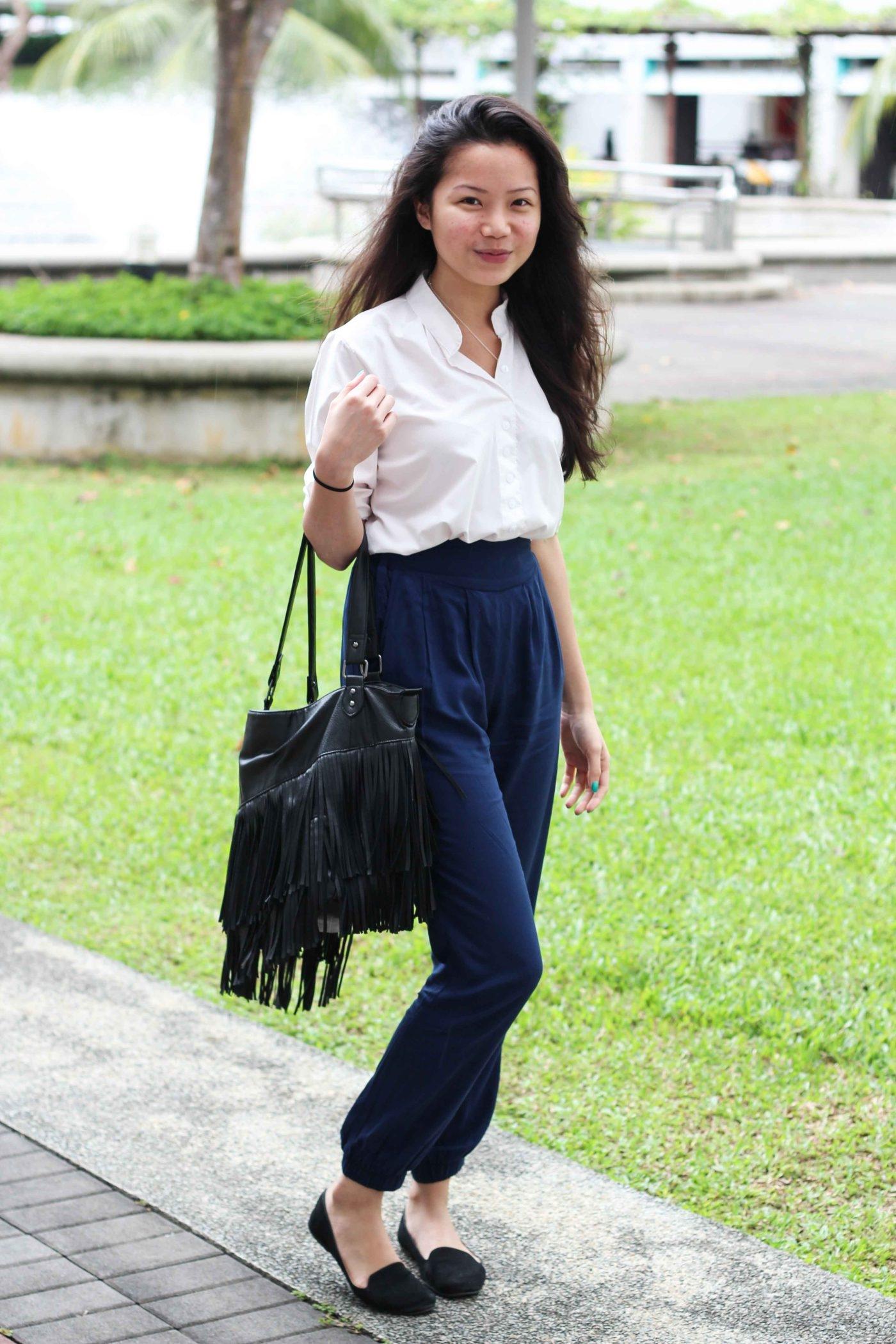 Nanyang Technical University  White Mandarin Collar Shirt  Blue High-Waisted Pants  Black Slippers  Black Tassel Purse