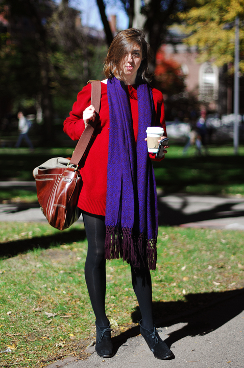 Harvard University  Oversized Red Sweater  Black Leggings  Black Suede Heel Boots  Blue Oversized Scarf  Mahogany Brown Leather Shoulder Bag