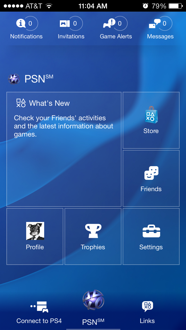 App home page (click to enlarge)