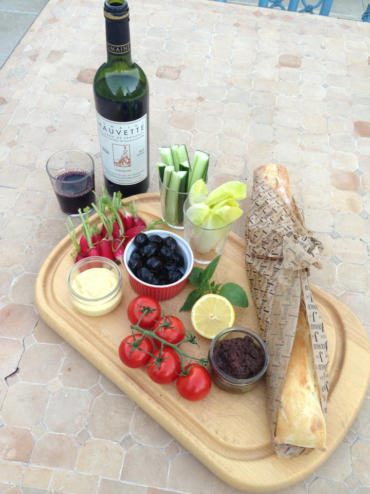 Home made aioli and tapenade to go with our crudités & brilliant Jouvaud baguette.