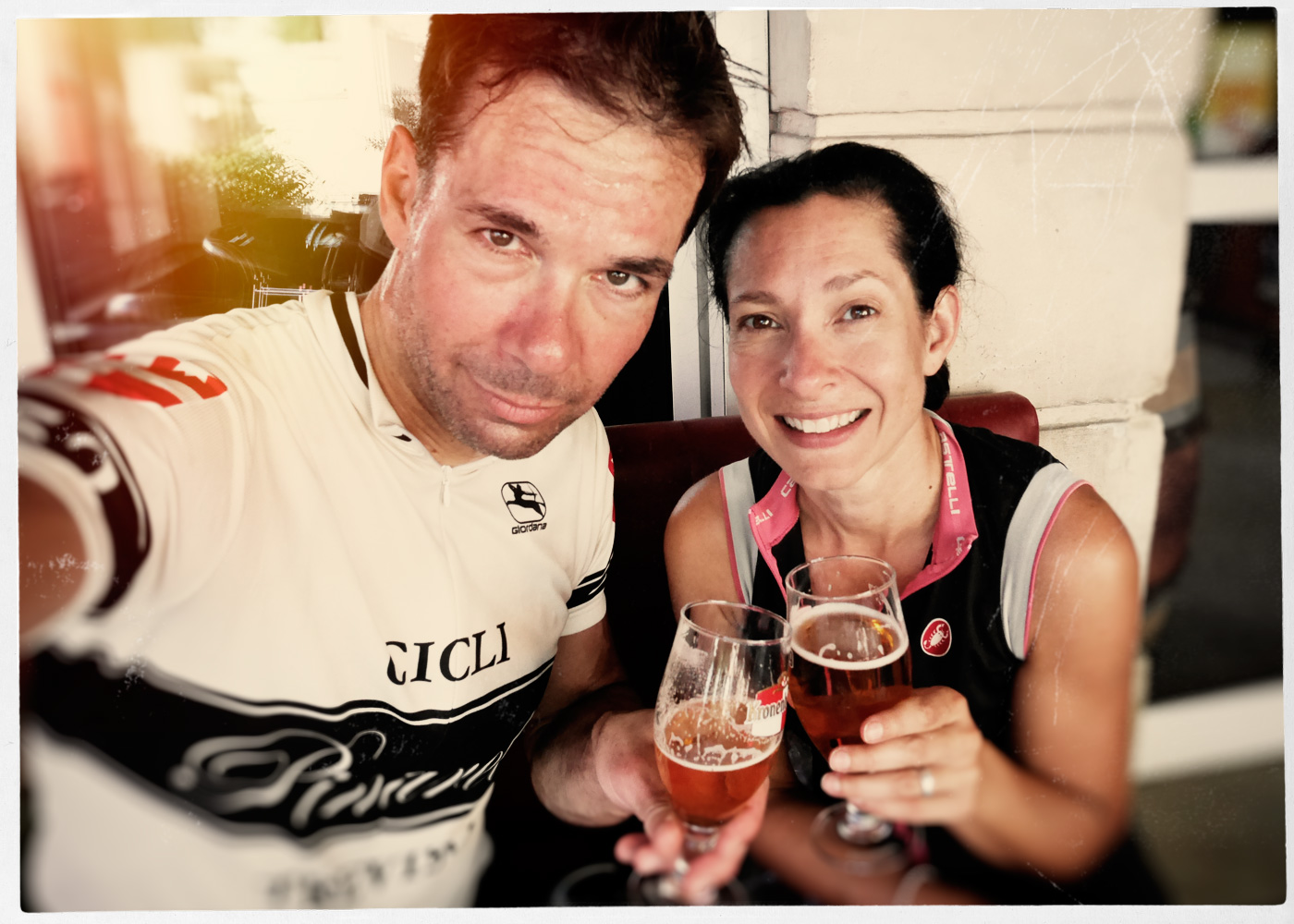 Having a beer with Jay, post ride, at our local little bar in Vacqueyras.