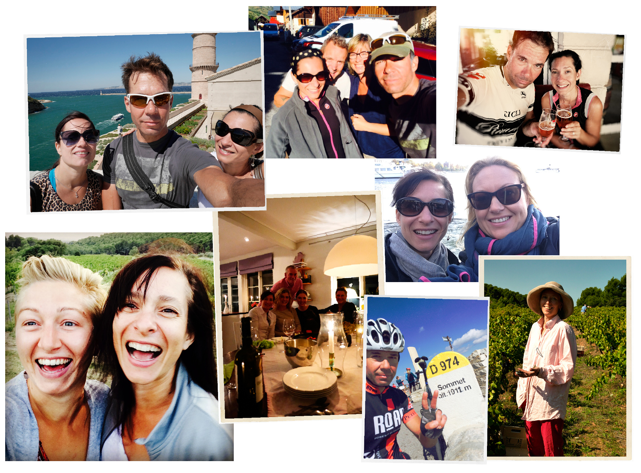 Summer of the selfies (top to bottom, left to right): Natalie, Jason & I in Marseille; Didi, Hugh, Jay and I in the Alps; Jay and I having a post-ride beer; Tove & me at Clos de Caveau; dinner in Stockholm with Tove's family, Tara and I in Stockholm, Jay at the top of Ventoux on his second ascent of the day; Zara harvesting in Le Barroux.