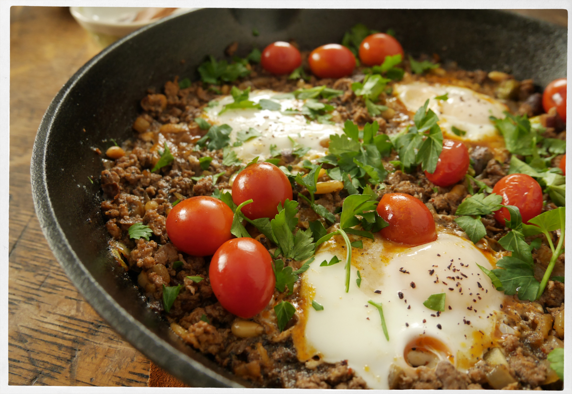 Braised eggs and lamb.