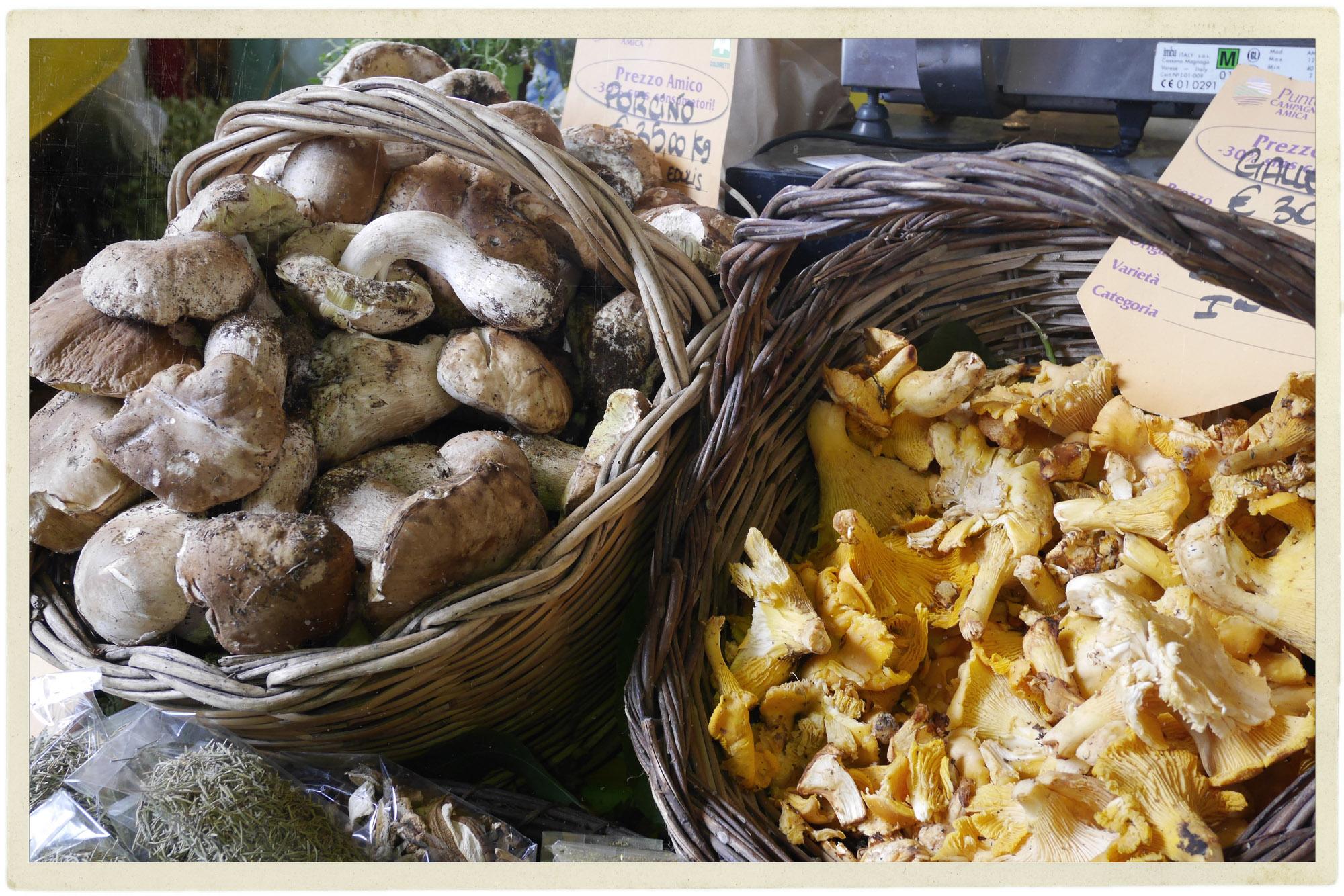 Porcini in season at the market.