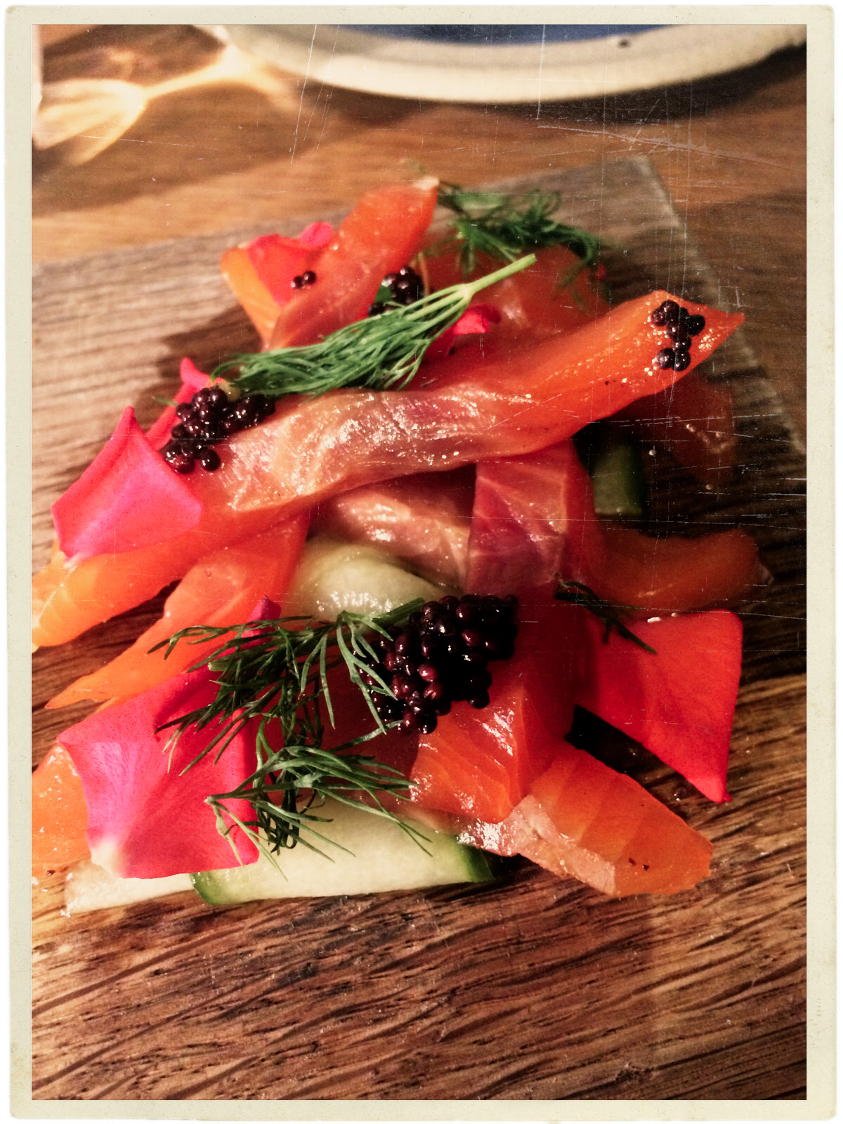 Our lucky find: Rabbit, a fab restaurant in Chelsea. Cured trout. Delicious.