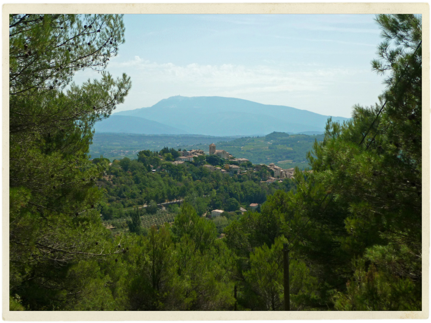 Village of Vinsobres and Mt.Ventoux in the distance.