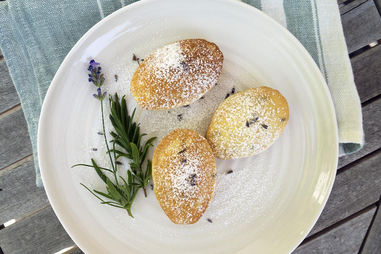 Madeleines with lavender-infused sugar.