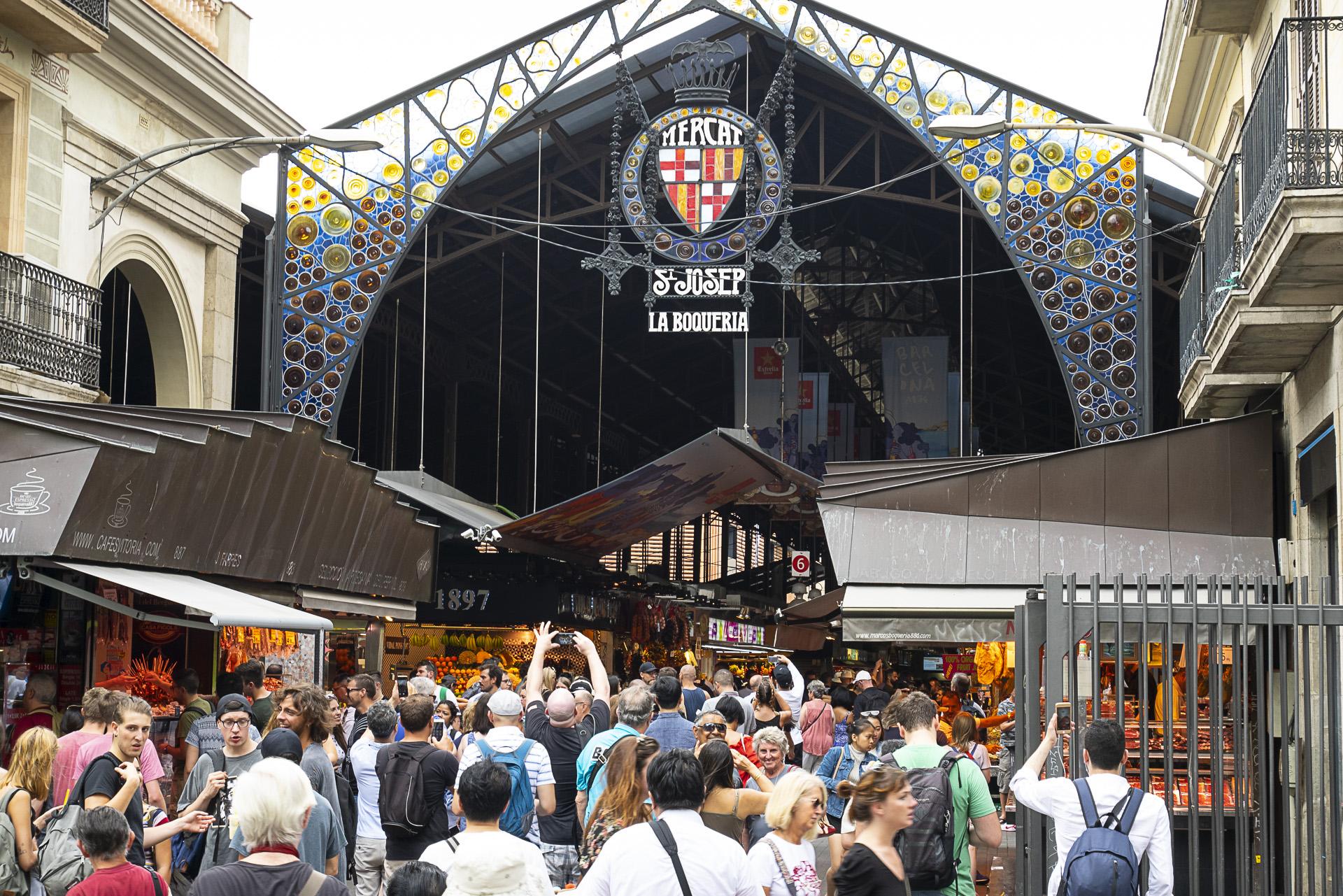 La Boqueria market, craziness in the middle of Barcelona.