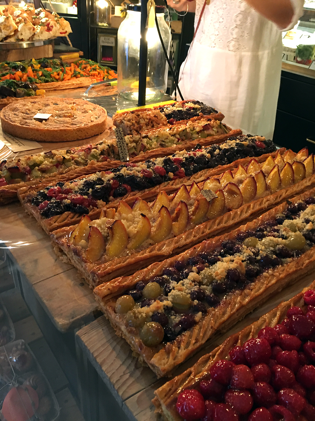 The beautiful tarts at Jouvaud. They cut off as much for you as you like. So civilized.