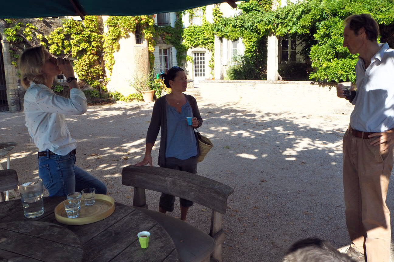 At Château Unang having a little coffee before touring the vines and snapping photos.