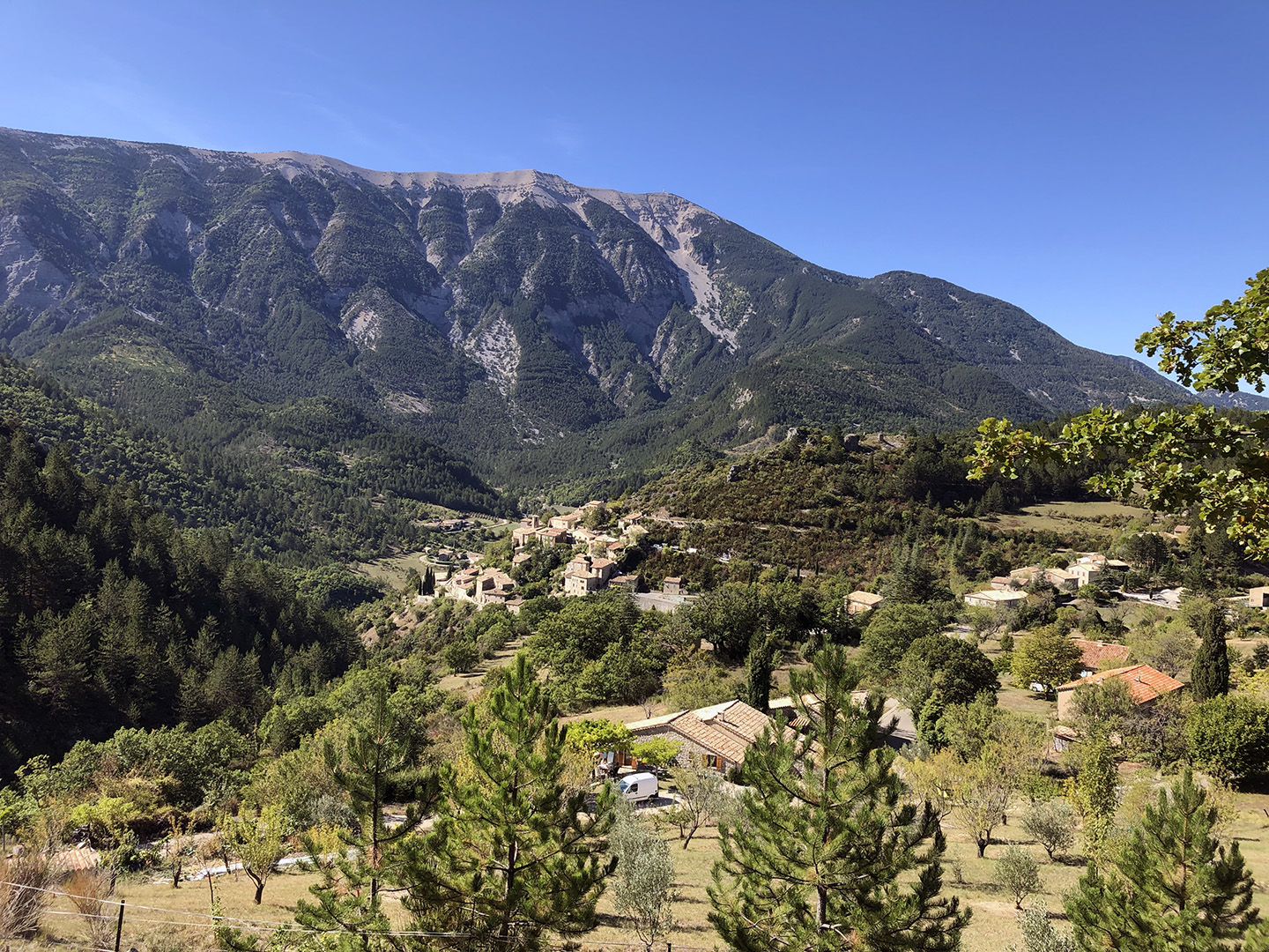 The beautiful perched village of Brantes in the distance.