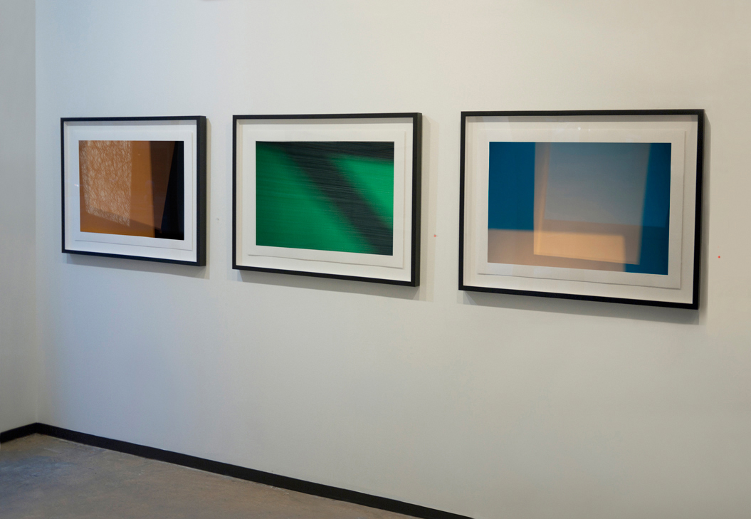 (L to R)  Haywire  (2014),  Runway  (2014),  Spaces Within II , all archival pigment ink on rag paper, 20 x 30 inches (50.8 x 76.2 cm) by abstract expressionist photographer Steven Silverstein at Esperson Gallery. Editions of 5; AP 1.