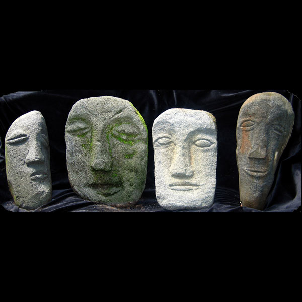 "4 Heads  18"" tall Sandstone 2007"