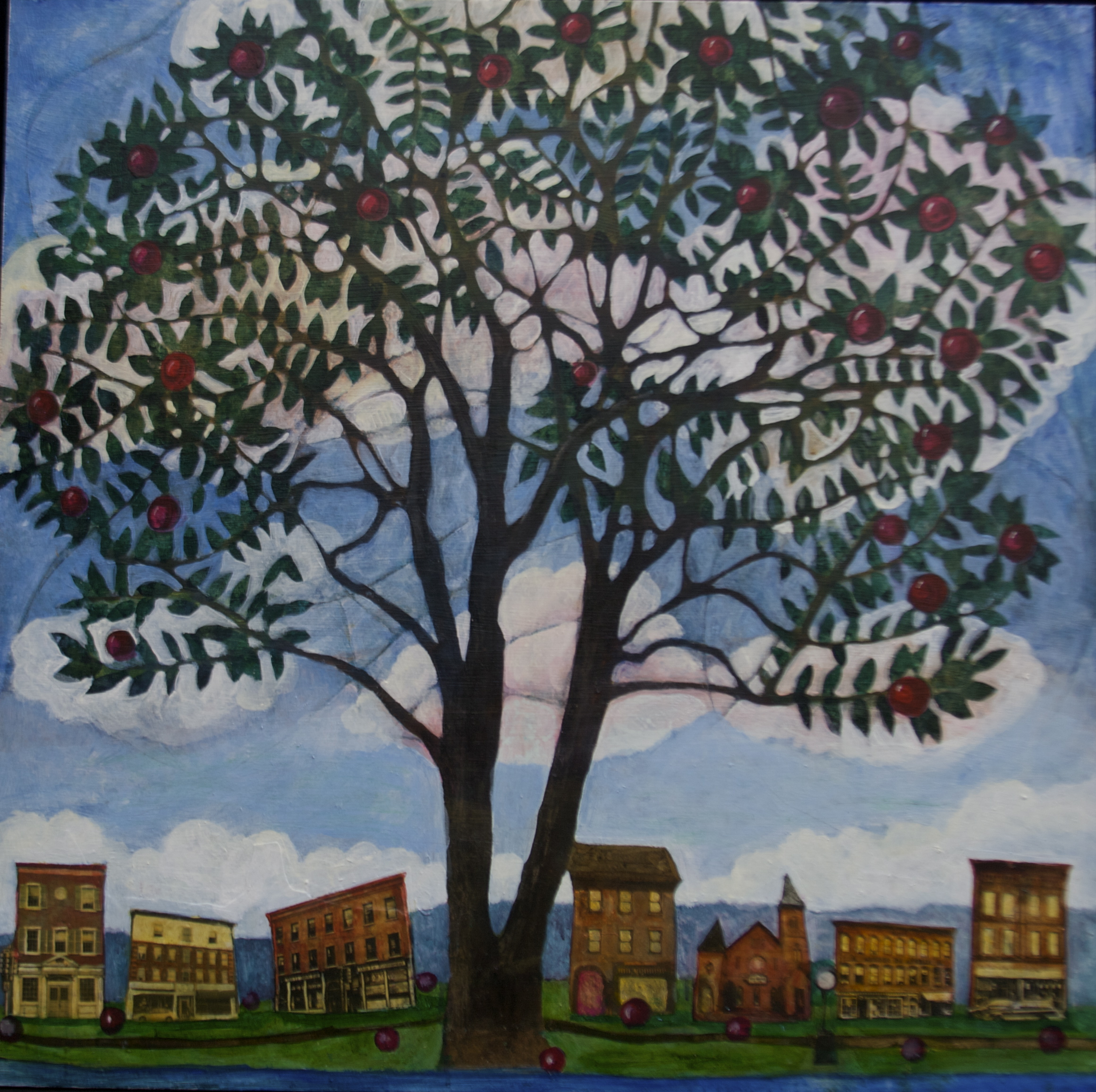 Tree and Town, 32x32, Acrylic, Collage on Panel, 2011 Brattleboro Court House